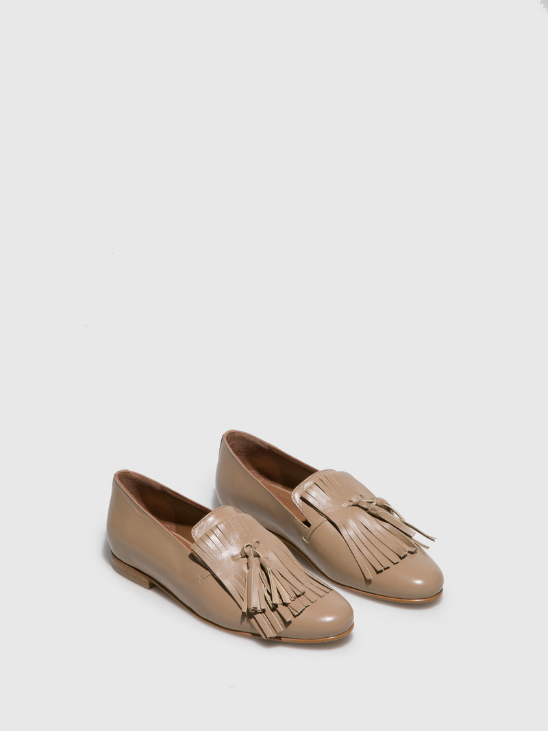 Beige Leather Loafers Shoes