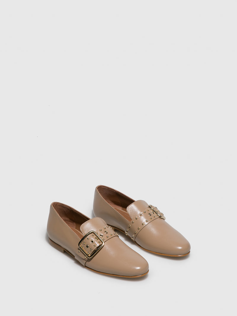 JJ Heitor Beige Leather Loafers Shoes