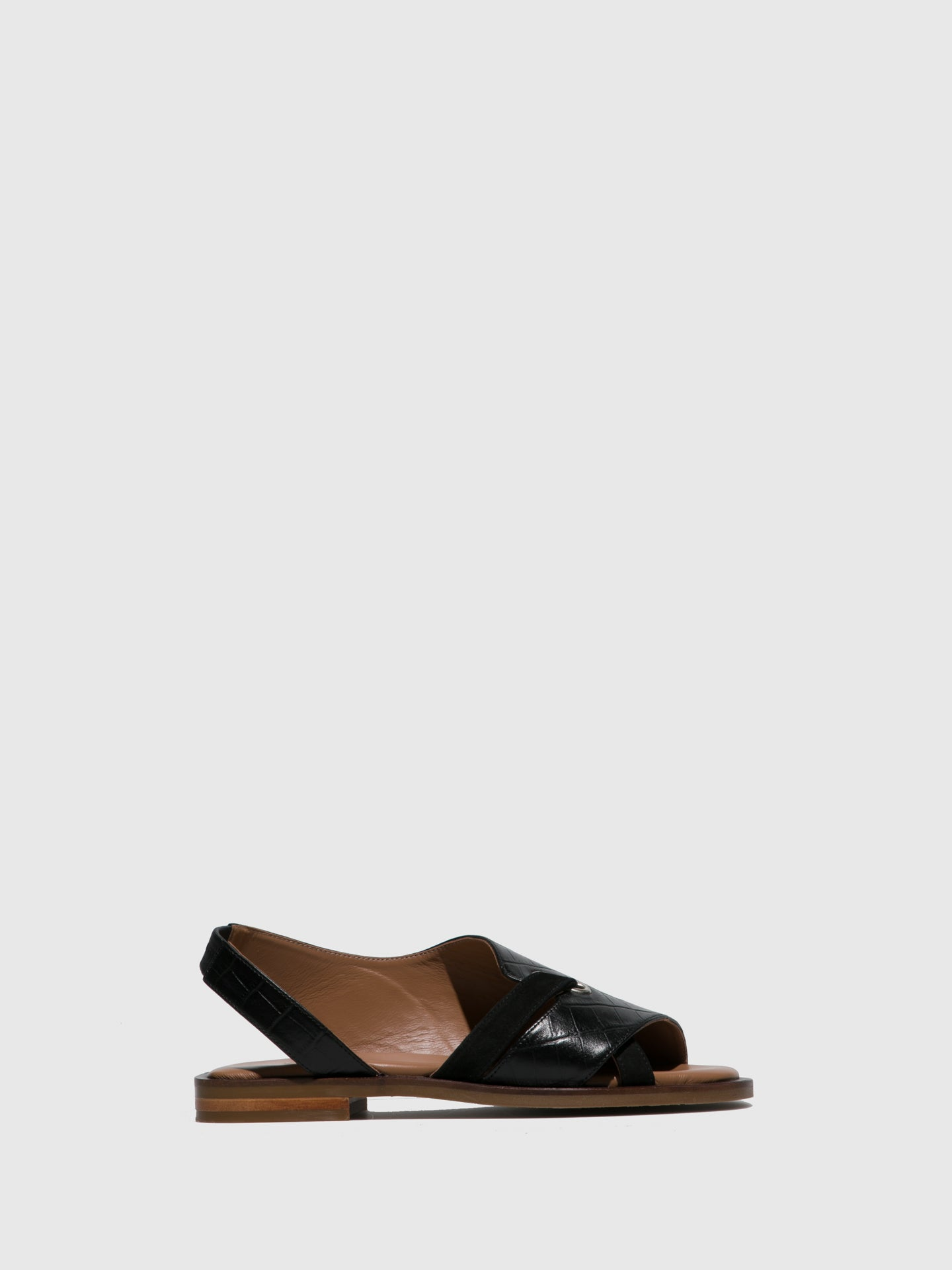 JJ Heitor Black Flat Sandals
