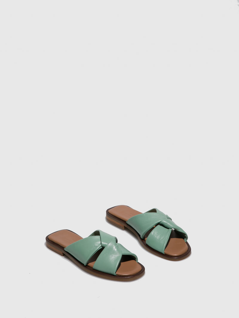 Green Leather Flat Sandals