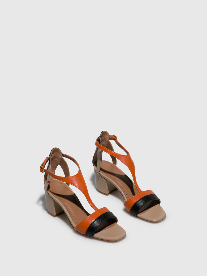 JJ Heitor Orange T-Strap Sandals