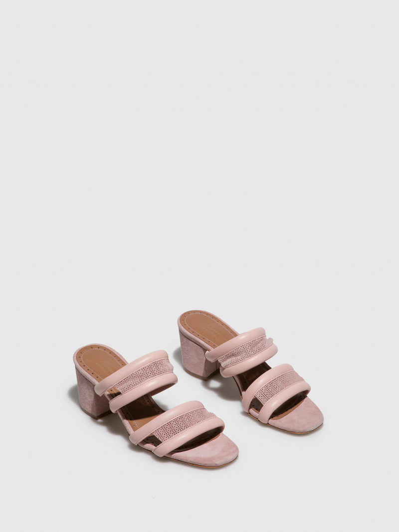Pink Leather Open Toe Sandals