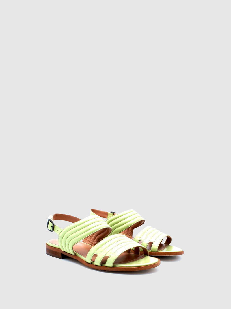 JJ Heitor Green Leather Flat Sandals