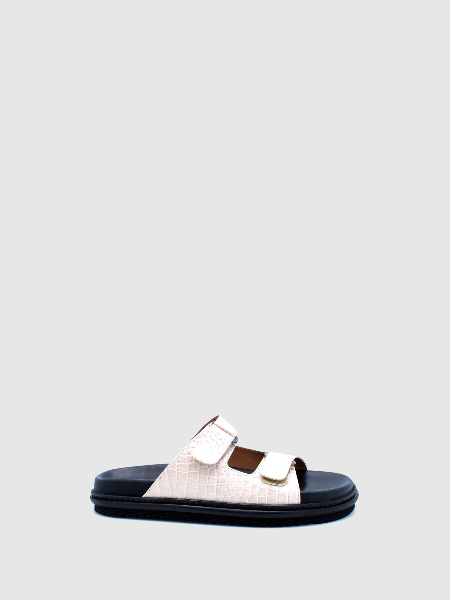 JJ Heitor White Leather Flat Sandals