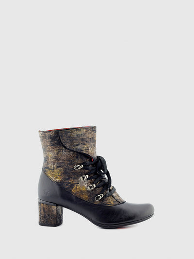 Jose Saenz Gold Black Lace-up Ankle Boots