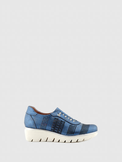 Jose Saenz Navy Lace-up Shoes