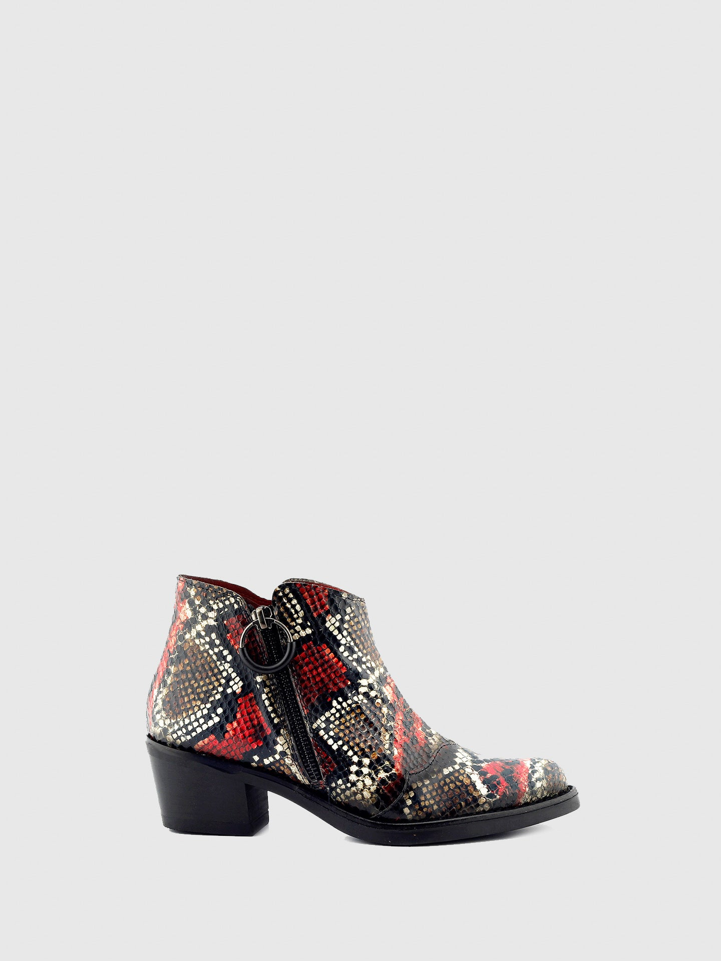 Jose Saenz Red Black Cowboy Ankle Boots