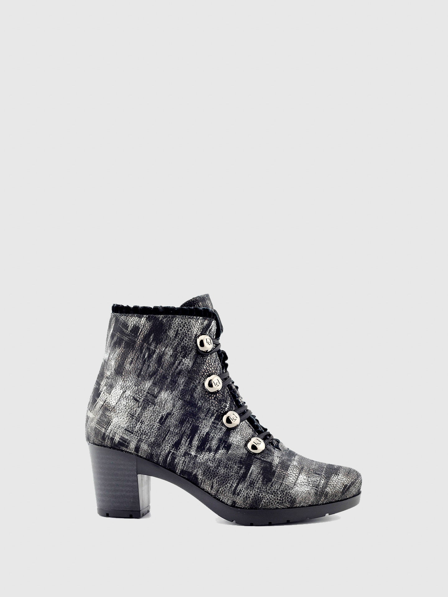 Jose Saenz Silver Black Zip Up Ankle Boots