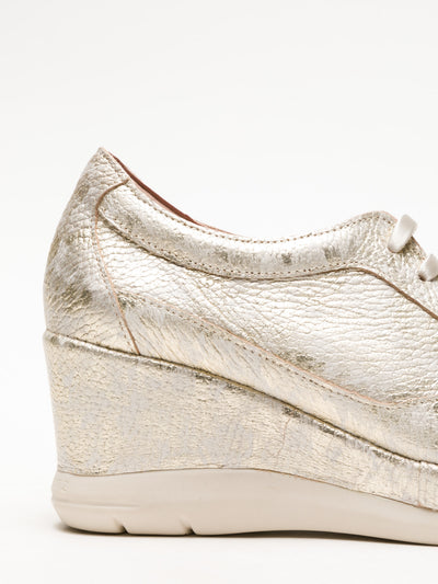 Jose Saenz Gold Wedge Trainers