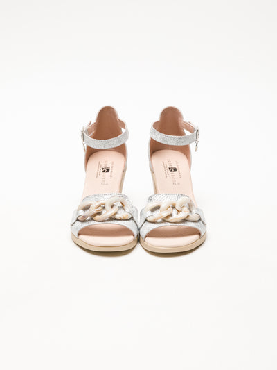 Jose Saenz Silver Ankle Strap Sandals