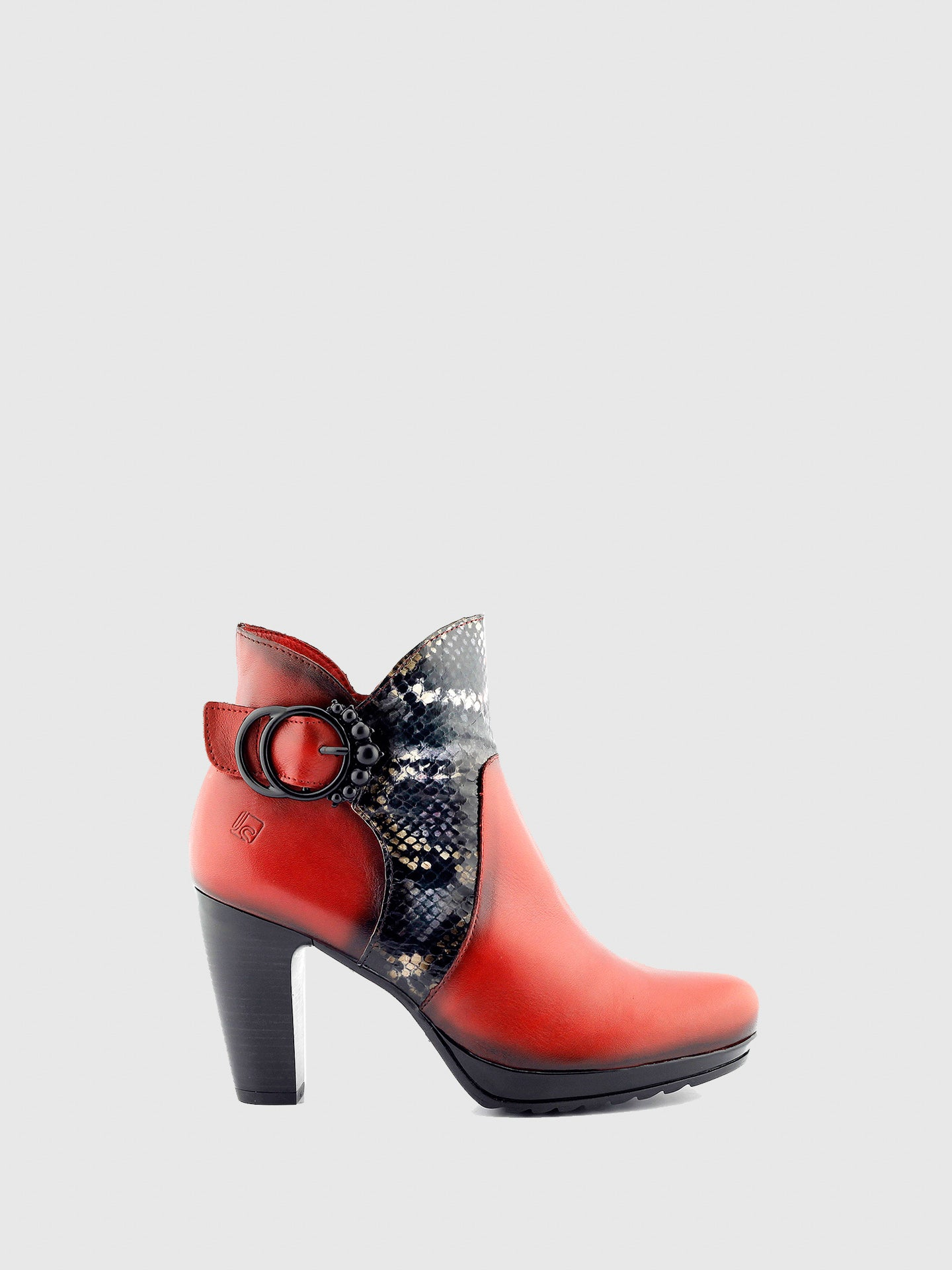Jose Saenz Red Black Zip Up Ankle Boots