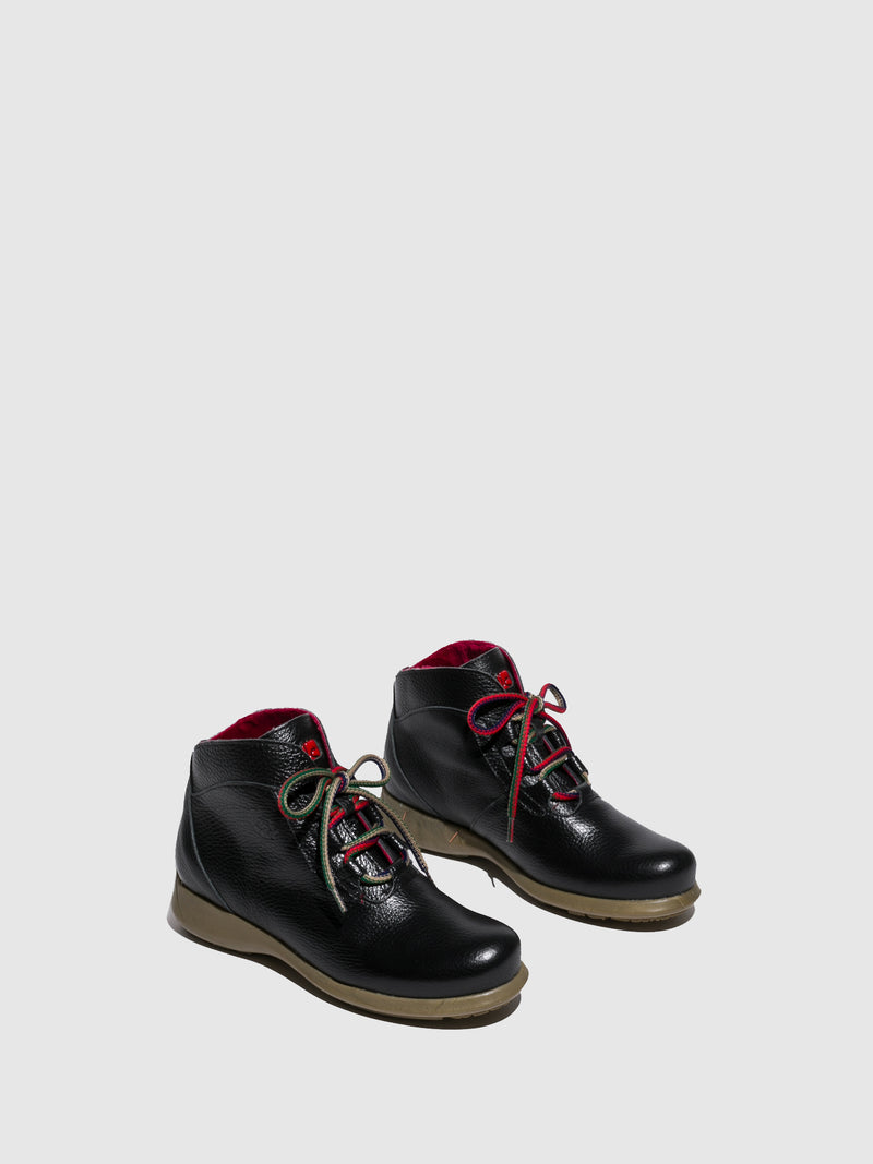 Jose Saenz Black Lace-up Ankle Boots