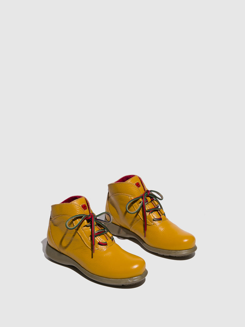 Jose Saenz Yellow Tan Lace-up Ankle Boots