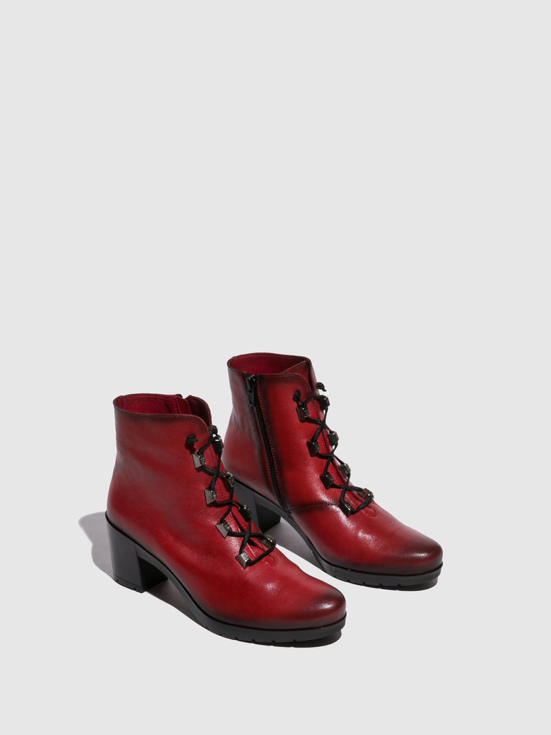 Jose Saenz Red Zip Up Ankle Boots