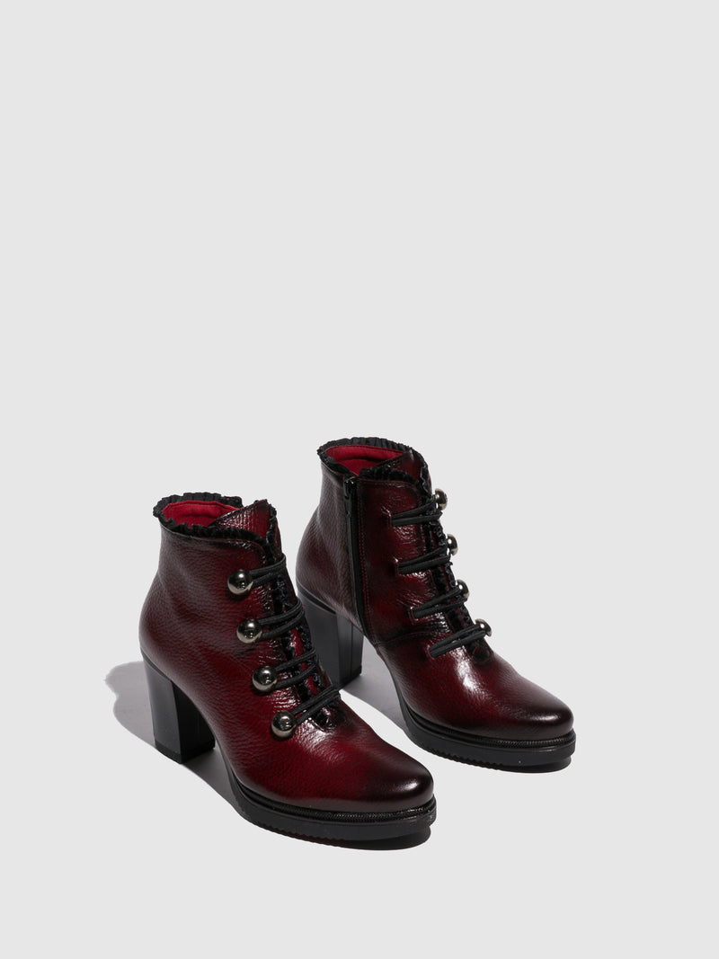 Crimson Lace-up Ankle Boots