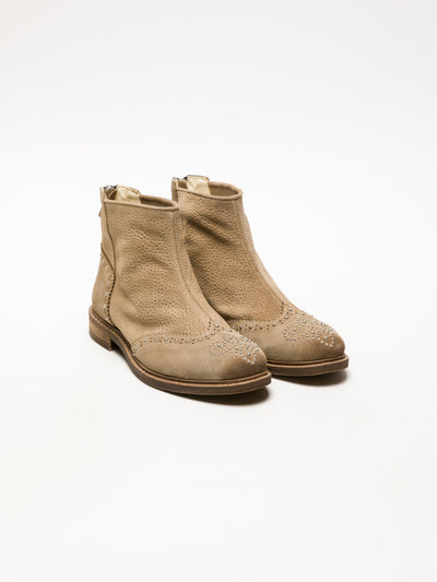 Lazuli Tan Zip Up Ankle Boots