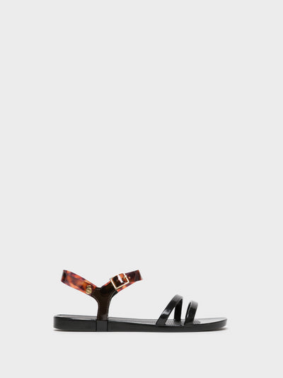 Lemon Jelly Black Strappy Sandals