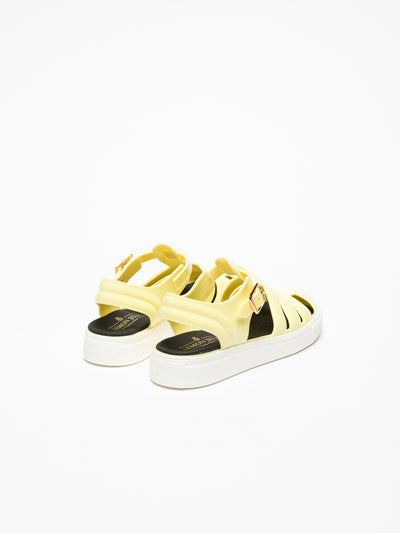 Lemon Jelly LightYellow Buckle Sandals