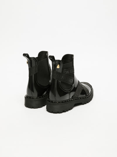 Lemon Jelly Black Tractor Ankle Boots