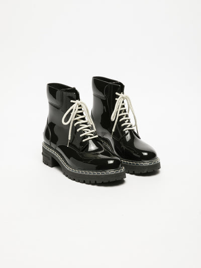 Lemon Jelly Coal Black Lace-up Ankle Boots