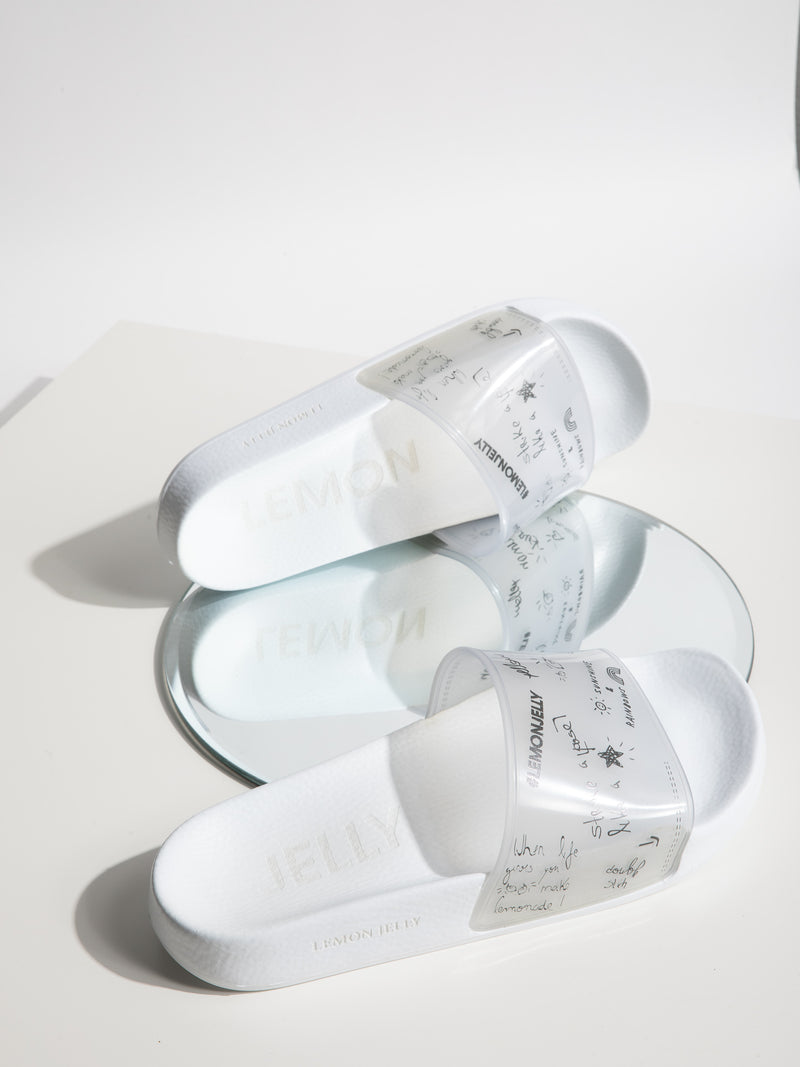 Lemon Jelly White Casual Slides