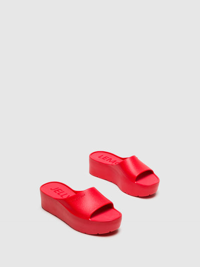 Lemon Jelly Red Platform Sandals