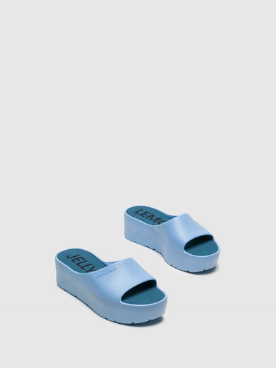 Lemon Jelly Blue Platform Sandals