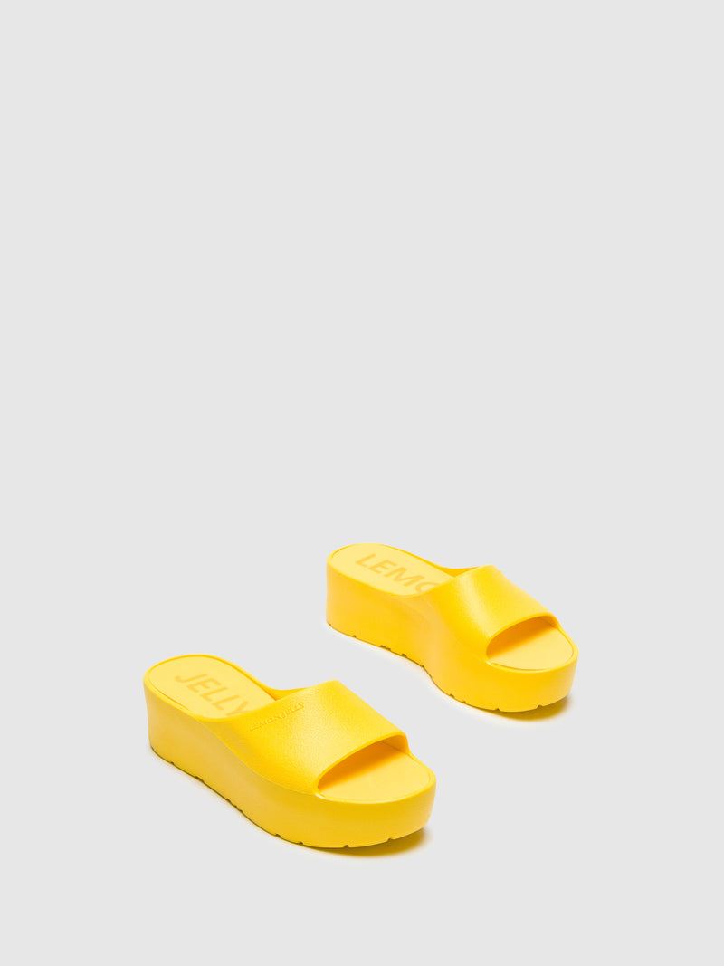 Lemon Jelly Yellow Platform Sandals