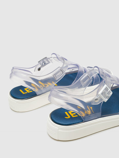 Lemon Jelly Blue Transparent Buckle Sandals
