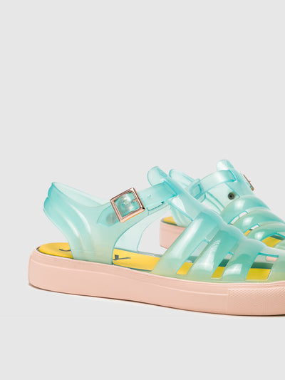 Lemon Jelly Turquoise Buckle Sandals