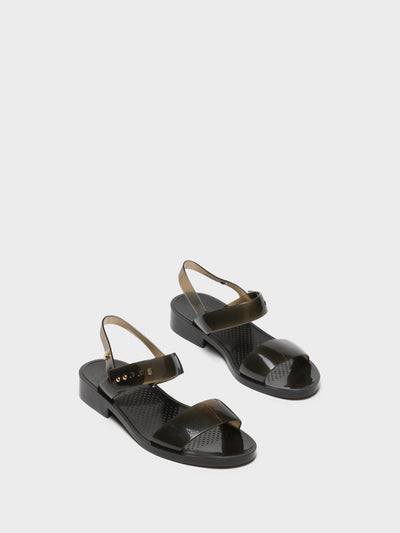 Lemon Jelly Black Sling-Back Sandals