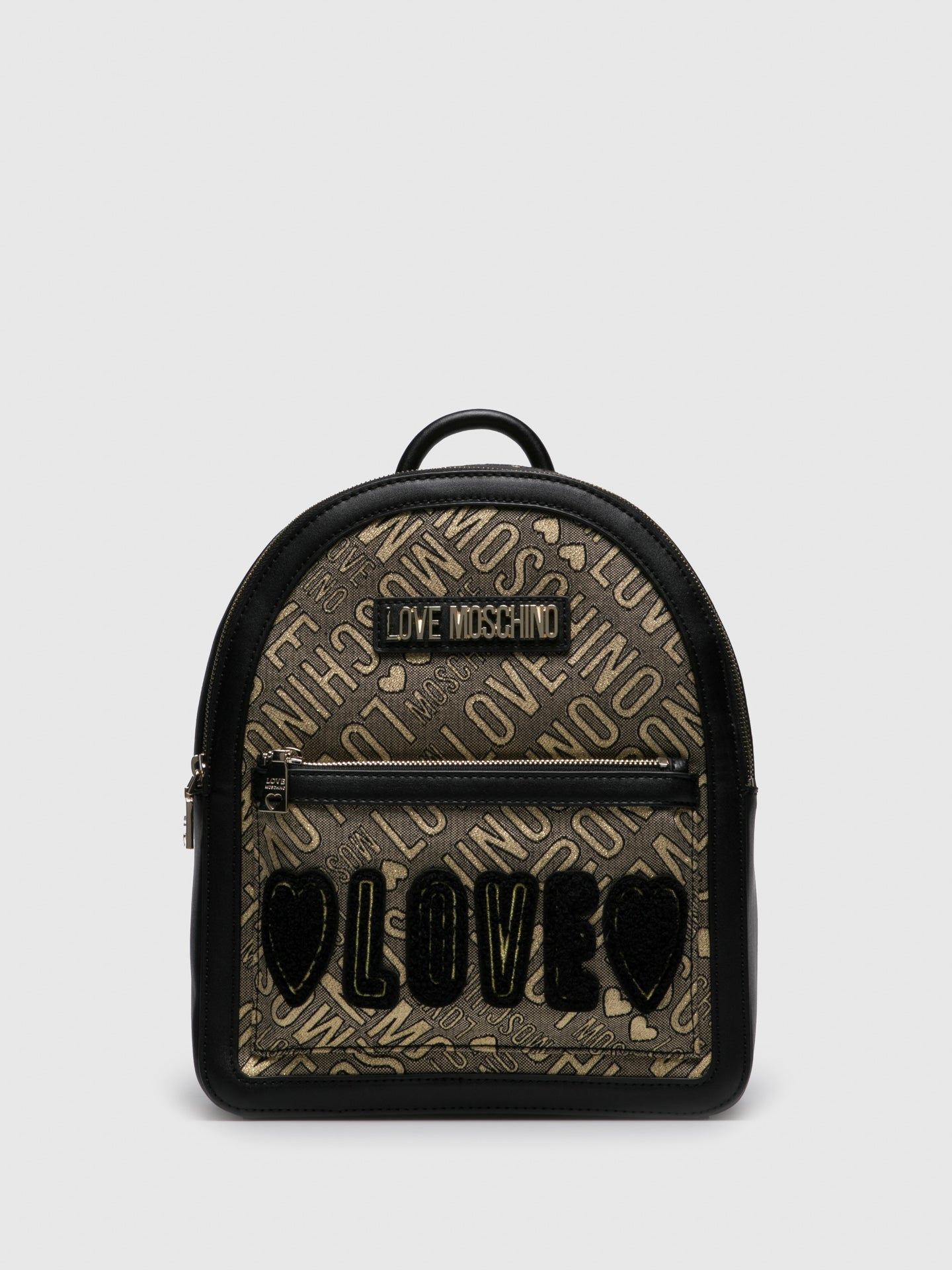LOVE MOSCHINO Gold Black Backpack