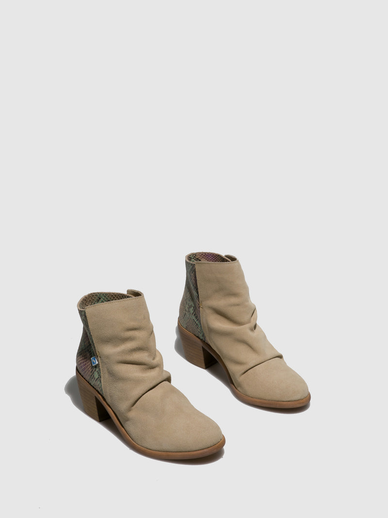 Beige Round Toe Ankle Boots