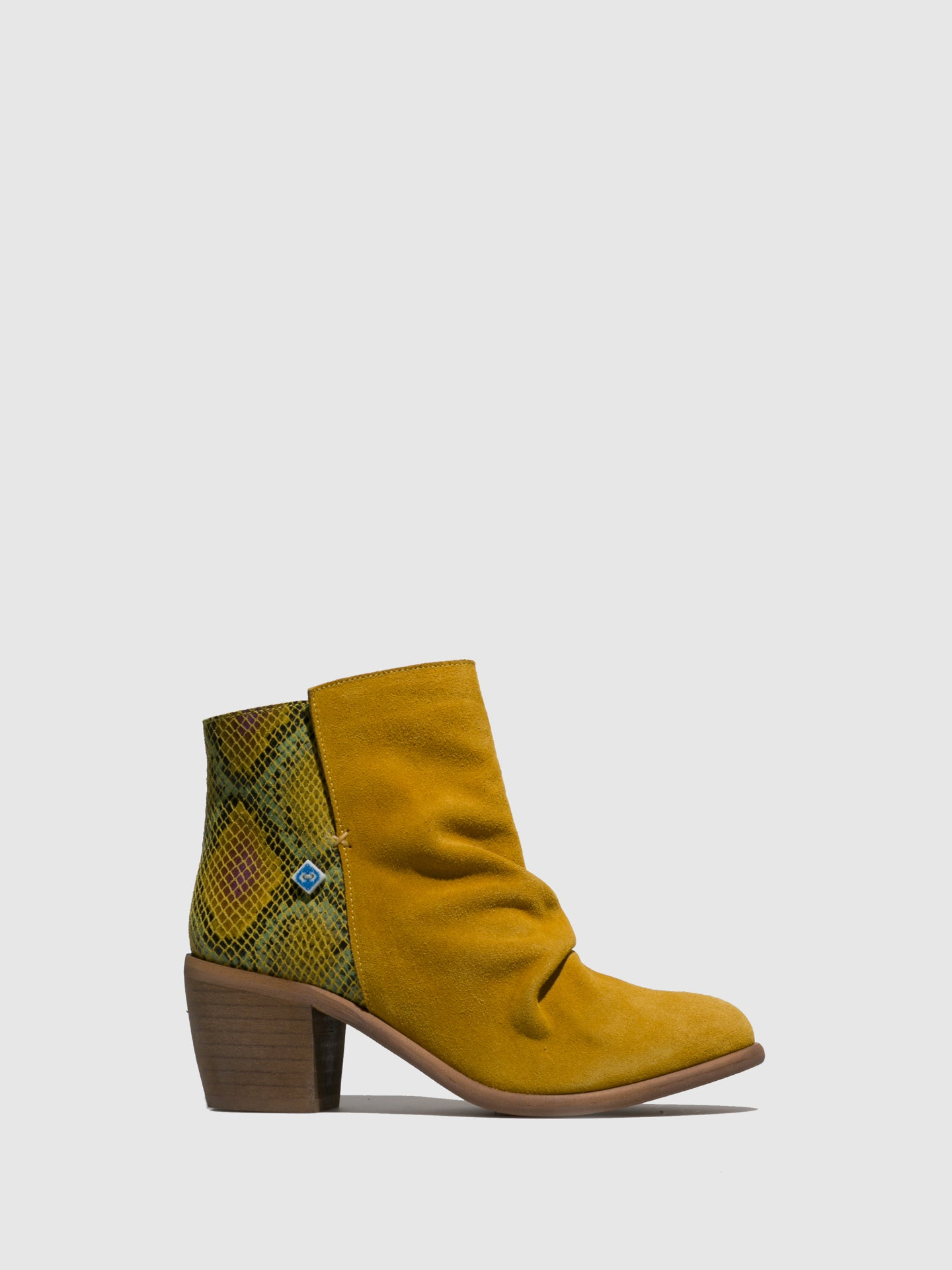 Lazuli Yellow Round Toe Ankle Boots