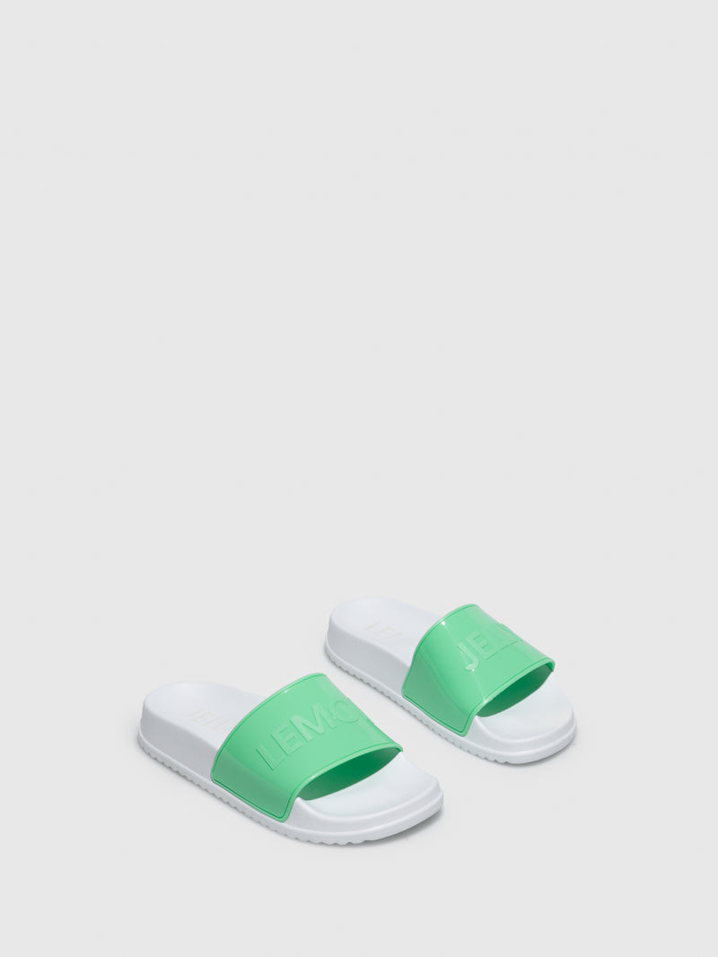 Lemon Jelly Green Open Toe Mules