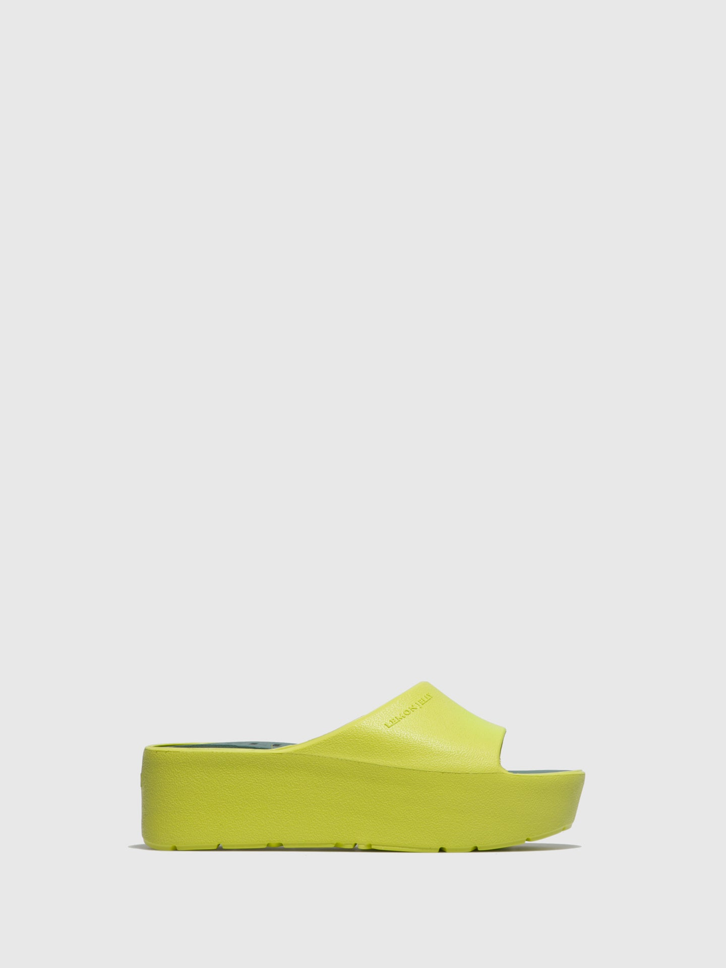 Lemon Jelly Green Platform Mules