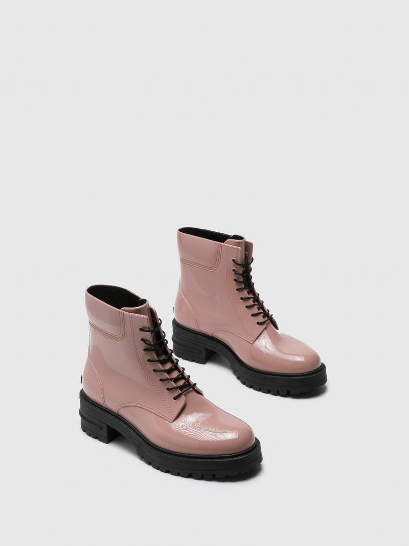Pink Lace-up Ankle Boots