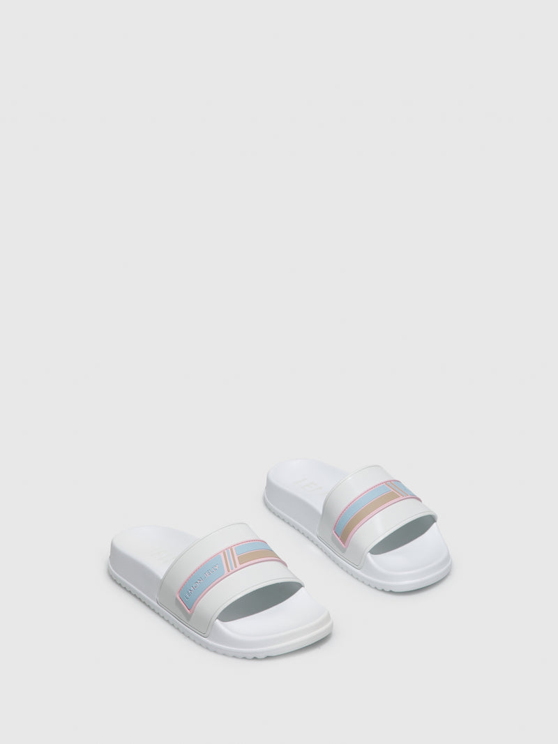 Lemon Jelly White Open Toe Mules