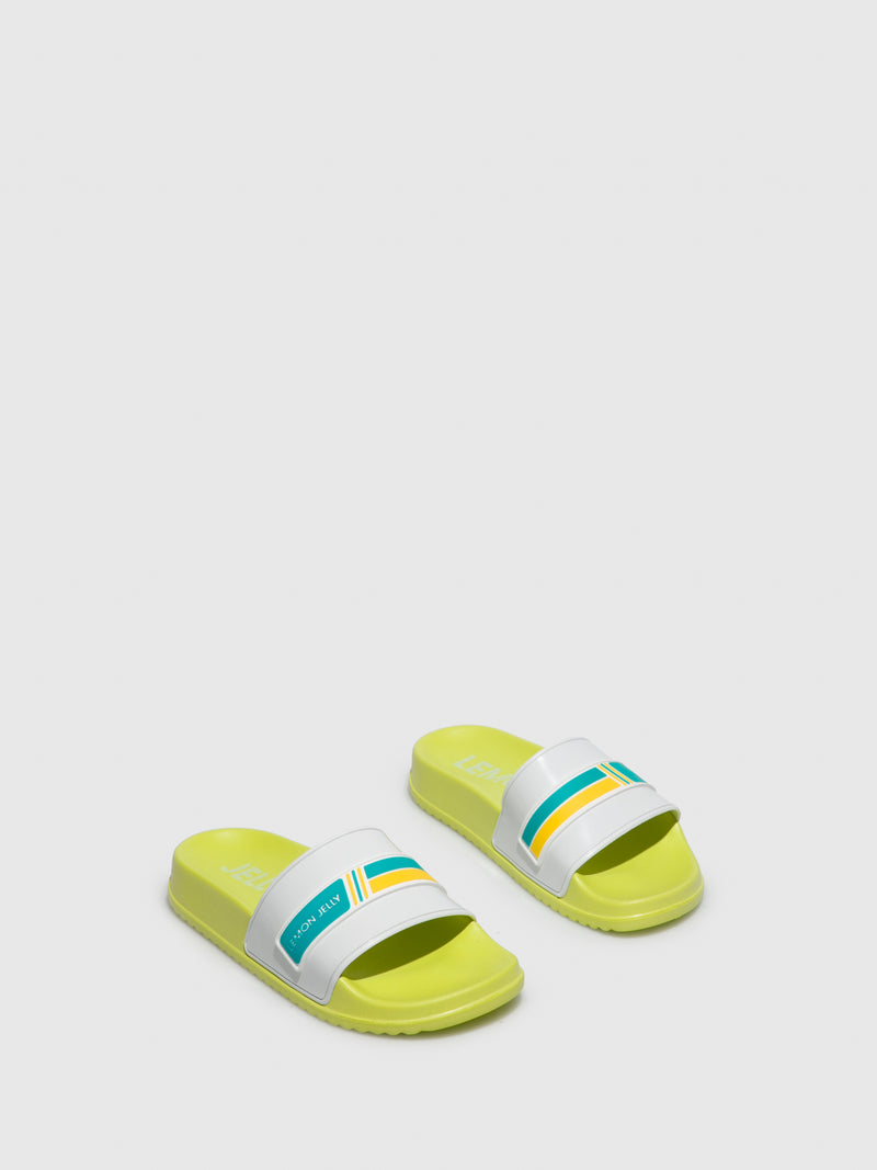 Lemon Jelly Yellow Open Toe Mules