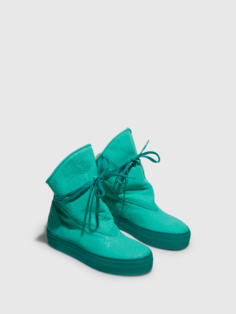 Turquoise Buckle Boots