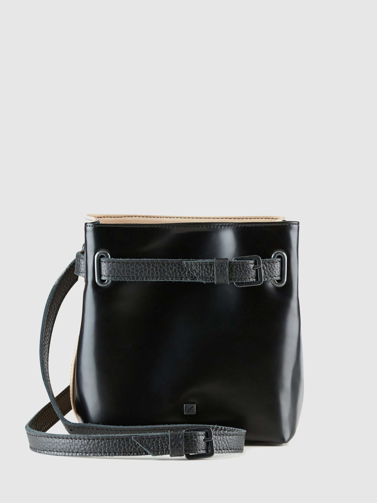 Maria Maleta Black and Pale Pink Reversible Crossbody Bag