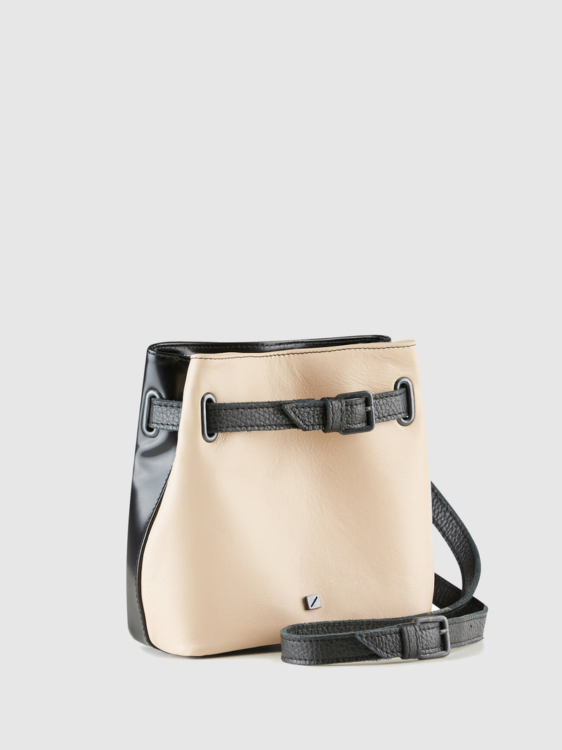 Black and Pale Pink Reversible Crossbody Bag