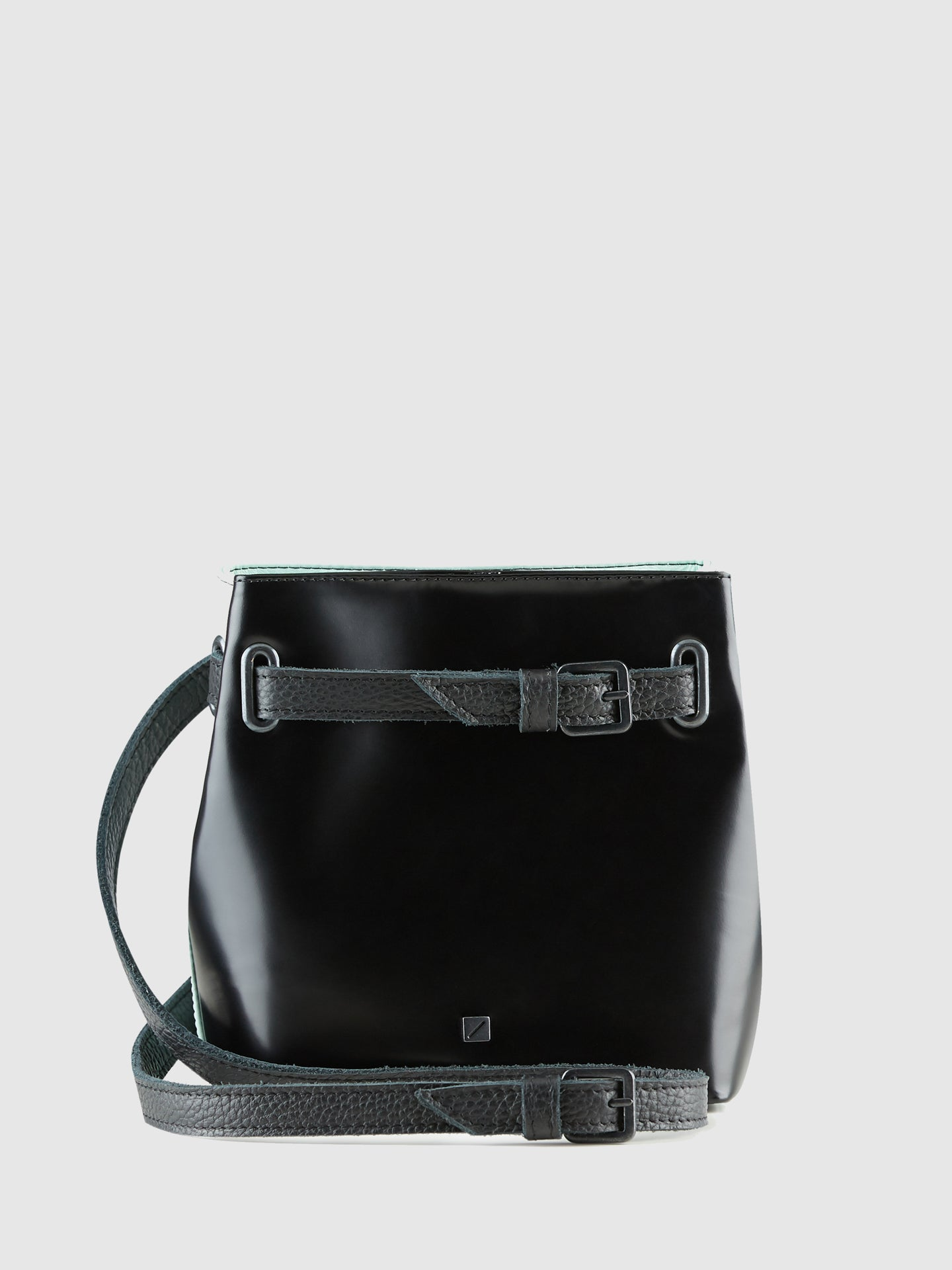 Maria Maleta Black and Teal Reversible Crossbody Bag