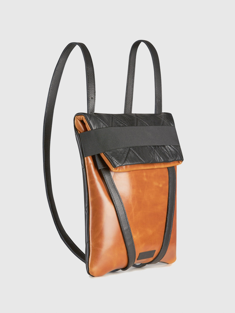 Maria Maleta Camel and Black Reversible Backpack