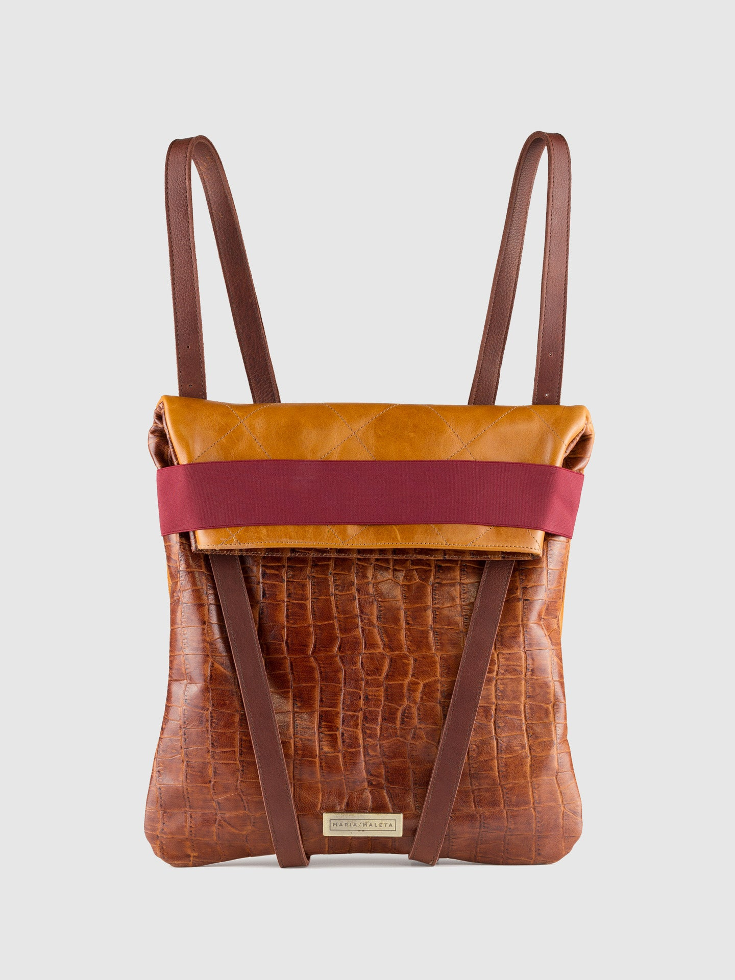 Maria Maleta Brown Leather Reversible Backpack