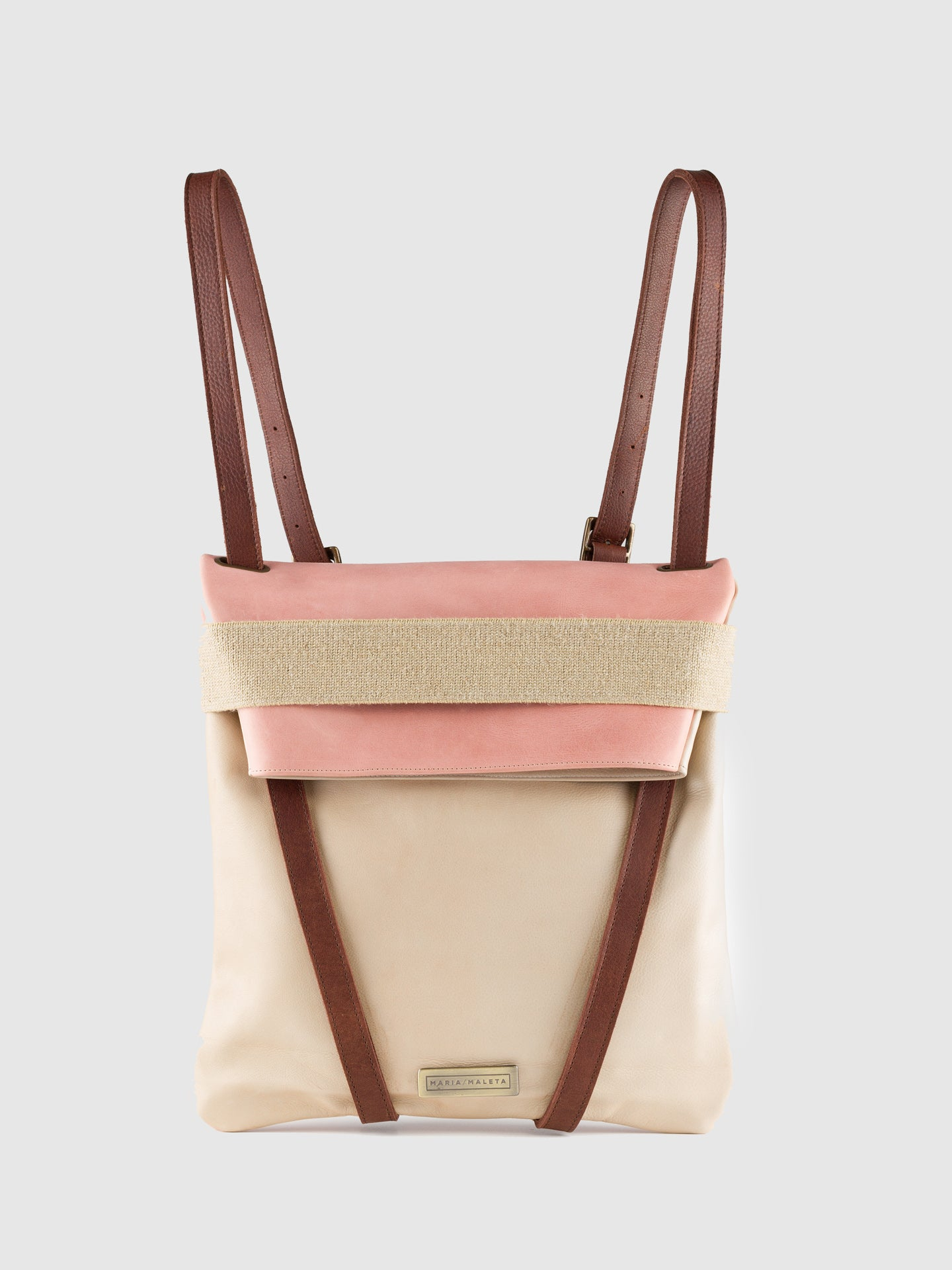Maria Maleta Pink Leather Reversible Backpack