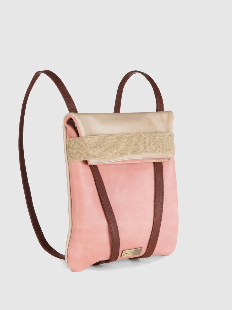 Pink Leather Reversible Backpack