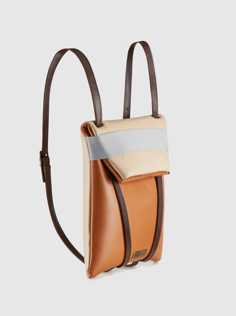 Maria Maleta Camel and Pale Pink Reversible Crossbody Bag