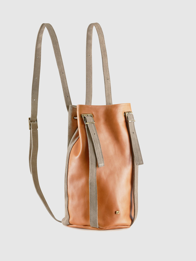 Maria Maleta Camel and Gray Reversible Backpack