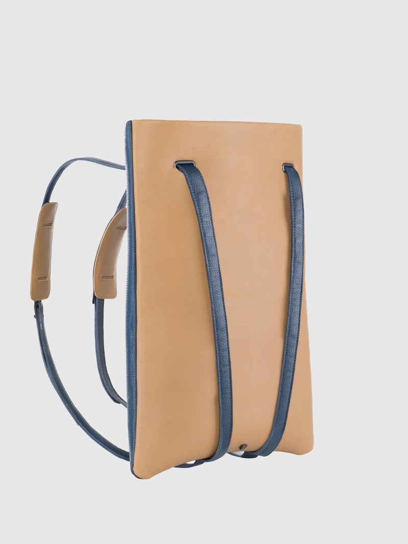 Maria Maleta Blue and Camel Reversible Backpack